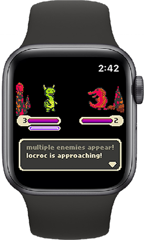 An Apple Watch showing TinyRPG